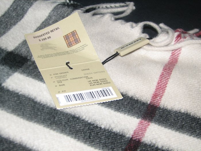 Authentic Burberry Cashmere Giant Check Scarf (Ivory)
