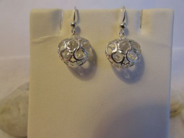 Puff Heart and Circle Sterling Silver Dangle Earrings