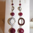 Ruby Agate and Sterling Silver Eternity Circle Drop Dangle Earrings