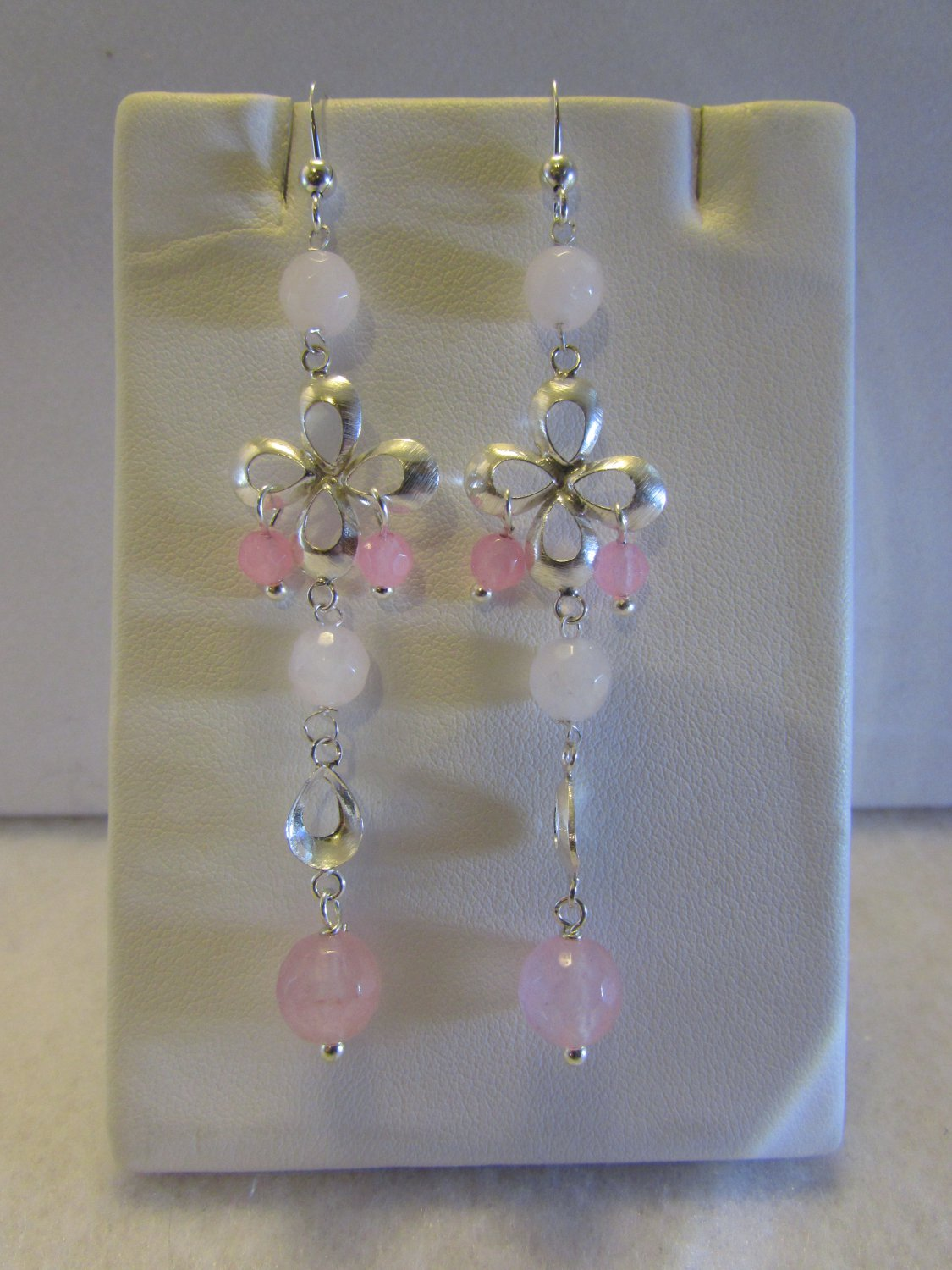 Sterling Silver Dangle Earrings with Rose Quartz