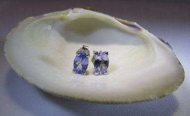 Tanzanite Sterling Silver w/ Platinum Earrings Oval Cut