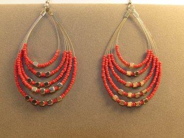 Handmade Indonesian Seed Bead Teardrop Drop Dangle Earrings Adorned w/Faux Silver 5 colors