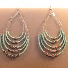 Handmade Indonesian Seed Bead Teardrop Drop Dangle Earrings Adorned w/Faux Silver Sky Blue
