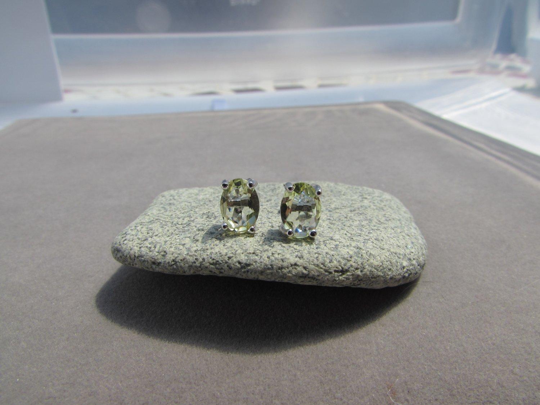 1.8 Ctw Oval Lemon Topaz Sterling Silver Stud Earrings January birthstone