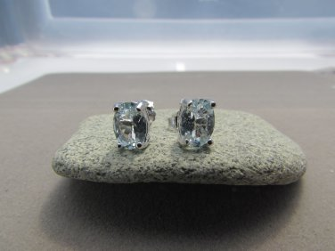 1.31 Ct Natural Oval Blue Aquamarine 925 Sterling Silver Stud Earrings