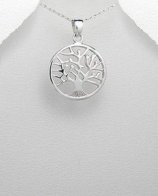 Tree of Life Sterling Silver Pendant on 18in Necklace