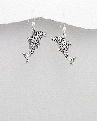 Dolphin 925 Sterling Silver Dangle Hook Earrings