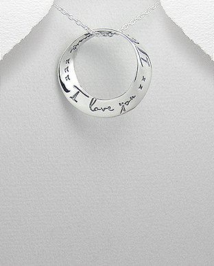 """Sterling Silver Pendant  """" I love you...I love you more"""" mobius message on 18in Necklace"""