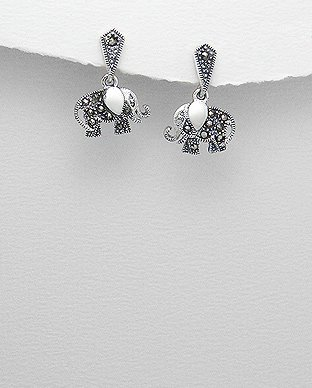Sterling Silver and Marcasite Elephant Dangle Hook Earrings