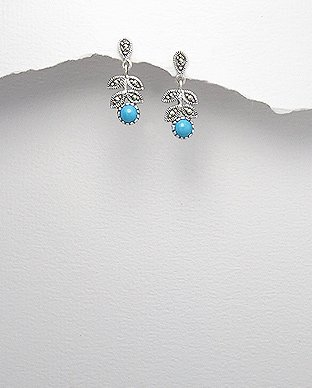 Sterling Silver, Marcasite, Turquoise, Leaf Dangle Hook Earrings