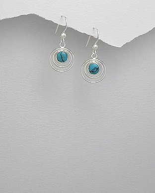 Sterling Silver Circle in Circle Turquoise Dangle Hook Earrings