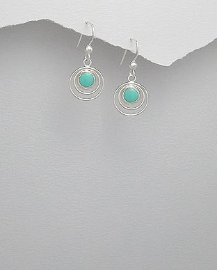 Sterling Silver Circle in Circle Light Green Turquoise Dangle Hook Earrings