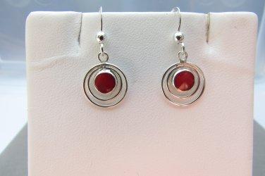 Sterling Silver Circle in Circle Red Resin Dangle Hook Earrings