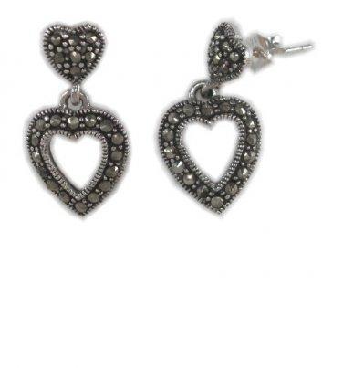 Open Heart Marcasite Sterling Silver Butterfly Dangle Stud Earrings