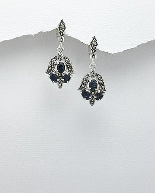 Elegant Blue Sapphire Marcasite Sterling Silver Dangle Omega Earrings