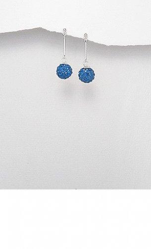 Sterling Silver Straight Capri Blue Crystal Orb Ball Dangle Butterfly Stud Earrings