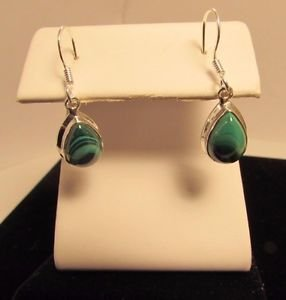 Sterling Silver Green Malachite Dangle Drop Earrings
