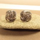 Sterling Silver Knot Gray Marcasite Stud Earrings
