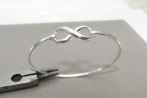 Infinity Friendship Love 925 Sterling Silver Bangle Bracelet Cuff