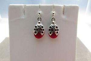 Sterling Silver Red Resin Ladybug Dangle Hook Earrings
