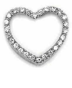 Heart Slider Round CZ Sterling Silver Pendant w/18 inch box chain