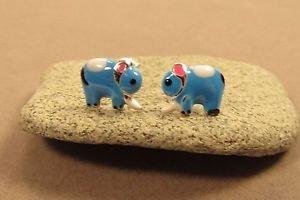 Blue Enamel Elephant Sterling Silver Butterfly Stud Children's Earrings