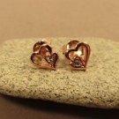 Pink Heart Gold Vermeil Sterling Silver Butterfly Stud Children's Earrings