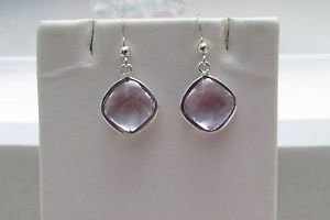 Pink Amethyst 925 Sterling Silver Hook Drop Dangle Earrings