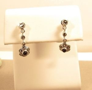 Marcasite Black Onyx Sterling Silver Dangle Butterfly Stud Earrings