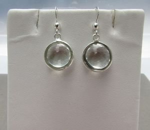 Stunning Round Green Amethyst 925 Sterling Silver Hook Drop Dangle Earrings