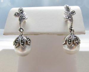 Elegant Fresh Water Pearl & 925 Sterling Silver Marcasite Dangle Stud Earrings