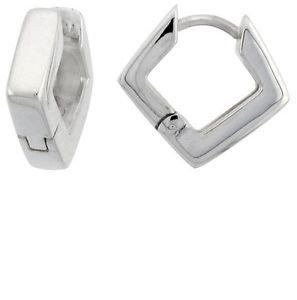 Small Huggie Hoop Diamond Shape  925 Sterling Silver Huggy Earrings