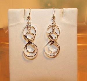 Sterling Sliver Infinity in Infinity  Dangle Hook Earrings