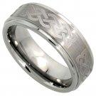 Men's 8mm Tungsten Wedding Ring Celtic Knot Satin Finish Recessed Edges sz 13