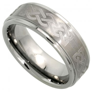 Men's 8mm Tungsten Wedding Ring Celtic Knot Satin Finish Recessed Edges sz 13