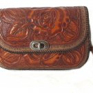 Tooled Leather Handbag Purse Used