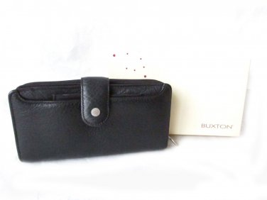 Buxton Black Leather Clutch Checkbook Wallet