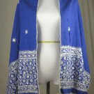 NEW*VINTAGE*1960's*INDIAN SHAWL*DEEP BLUE* HAND EMBROIDERED W/MIRRORS & SUN MOTIFS*