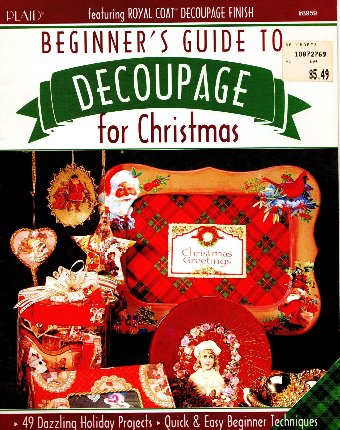 NEW*BEGINNER'S GUIDE TO DECOUPAGE FOR CHRISTMAS*1994*PLAID ENTERPRISES*OUT OF PRINT*