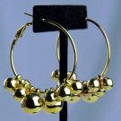 """Nw/tT*1.5"""" GOLD HOOPS*LARGE GOLD DECORATIVE BALLS*HYPOALLERGENIC*SNAP SPRING SAFETY BAR*RT $28"""