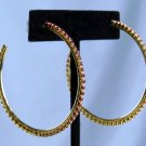 "Nw/tT*2"" GOLD HOOPS*FINE RUBY RED RHINESTONES*HYPOALLERGENIC*RT $28"