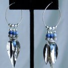 "VINTAGE*1980*HANDMADE*2 3/4"" DANGLE EARRINGS*W/SILVER HOOP & FEATHERS AND BEADS*SUPERB CONDITION*"
