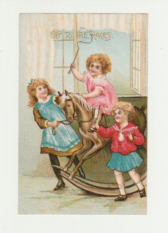 Off to the Races - Vintage Postcard - Children on a Rocking Horse - Printed in Germany