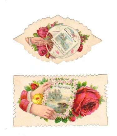 Victorian Calling Cards Red Roses with Hand - Vintage Scrap Ephemera