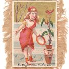 Vintage Postcard - New Year - With Beige Feathery Fringe Trim - Girl in Red Dress with Robin Bird