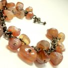 Agate Nugget Bracelet Brass Chain Handmade - 8 inches - Wire wrapped