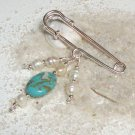 Kilt Pin Brooch - Turquoise and Freshwater Pearls