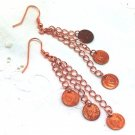 Copper Dangle Earrings - Summer Cascade of Coins