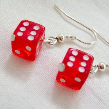 Red Dice Earrings - Las Vegas Style Novelty
