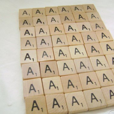 Vintage Wooden Scrabble Tiles - 48 for Scrapbooking or Crafts